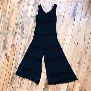 Vintage Jumpsuit Boho 1970s 1960s Lace Linen